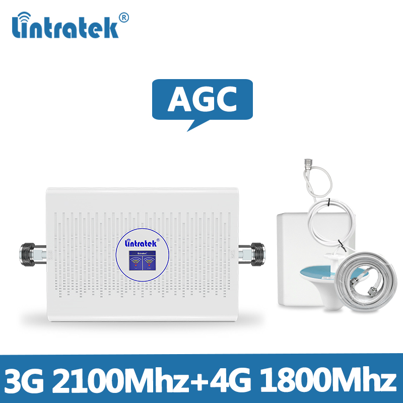 Lintretek 4G Repeater 1800Mhz AGC 70dB Signal Booster 3G 2100 Dual Band Ampli 4G 3G UMTS LTE Amplifier Repeater 1800 2100 @6.5