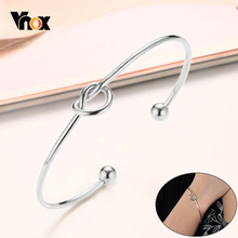 Vnox Elegant Women Stainless Steel Tied Knot Cuff Bracelets Bangles Gifts for Her
