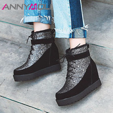 Купить с кэшбэком ANNYMOLI Winter Ankle Boots Women Bling Height Increasing High Heel Short Boots Glitter Round Toe Shoes Female Autumn Size 34-43