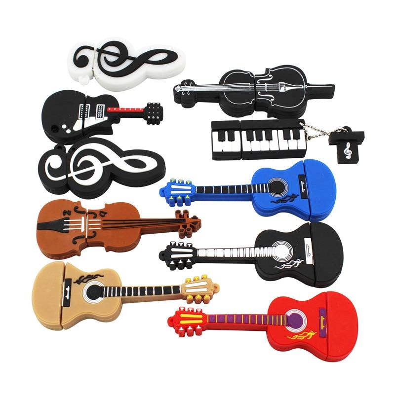TEXTO ME 64GB Guitarra instrumento violino Nota Musical bonito USB dos desenhos animados Flash Drive GB 8 4GB GB 32 16GB Pendrive USB stick Usb 2.0