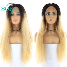 Synthetic Wigs Lace-Wig Straight Blonde Brown Long-Tendy SOKU Natural Black-Women Kinky