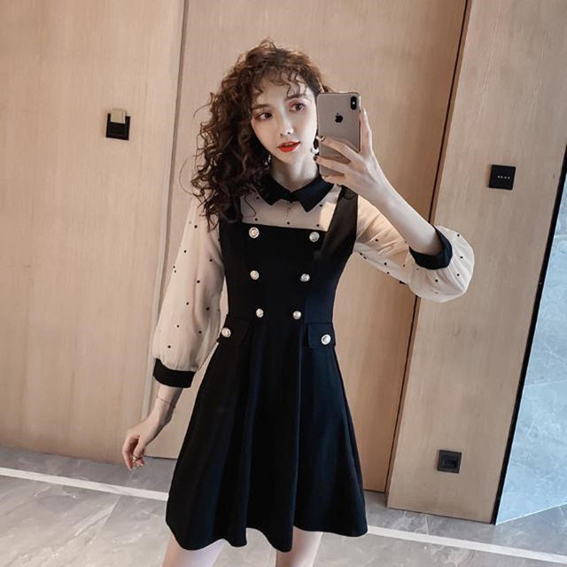 2021 spring and summer new dress Korean lapel French retro Hepburn little black dress mesh stitching slim slimming dress ins hot 2