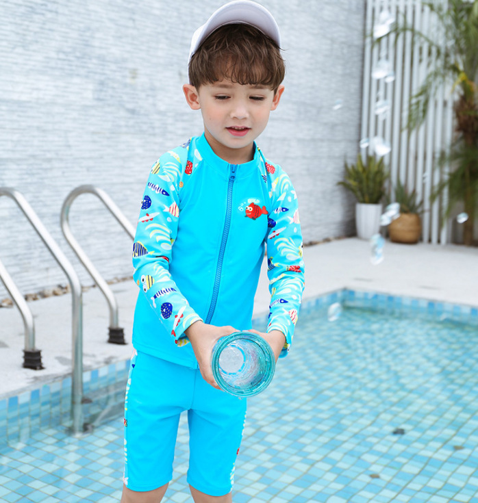New Style Big Boy Long-sleeve Zipper Cartoon Cute BOY'S Split Type Hot Springs Surf Wear Three-piece Set-KID'S Swimwear