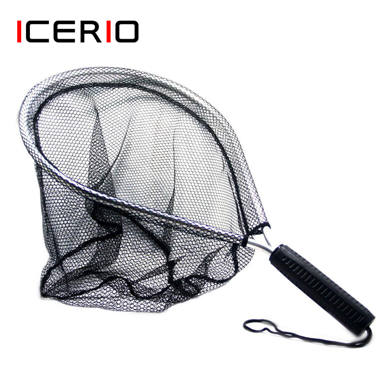 ICERIO Aluminum Fly Fishing Landing Nets Nylon Knotless Mesh Trout Hand Net Anti-lost Rope Tackle
