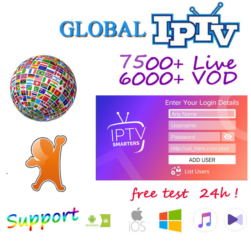 World IPTV 8000 Live 6000 VOD IPTV Android Box Smarters IPTV  USA UK Europe Subscription With TV For M3u  Enigma2 Ssmart TV