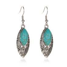 European and American Retro Turquoise Geometric Earrings Hot National Wind Carved Hollow  Fashion Jewelry