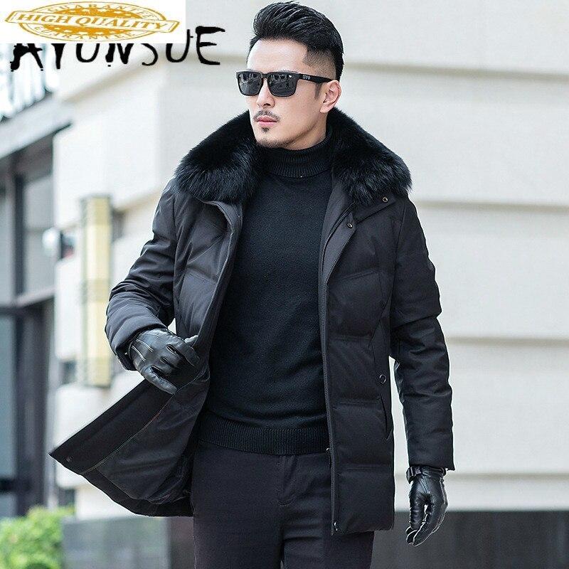 Hooded Duck Down Coat Winter Coat Men Fox Fur Collar Puffer Jacket Men Korean Warm Parka Doudoune Homme 5012 YY1308