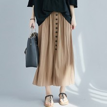 Pleated Skirt Solid Womens Loose Casual Button Decoration Cotton Ankle-Length Empire Waistline Female