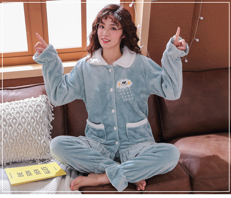 Plus Size 3XL 4XL 5XL Pyjamas women winter new Korean kawaii pink coral fleece warm pajama set thick flannel pijama home service 137