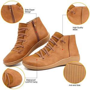 Image 2 - Botines de piel sintética para mujer, botas con cordones y correa cruzada, para primavera y otoño, WJ003