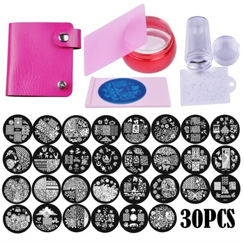 Biutee 30pcs/Set Nail Art Stamping Plates Set Geometric Flowers Multi-pattern Nail Plates Stamp Art Decoration Nail Accessories 2