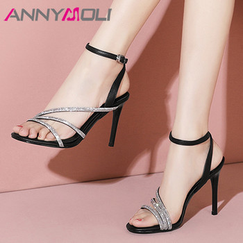 ANNYMOLI Woman Real Leather Sandals Ankle Strap Super High Heels Narrow Band Thin Heel Shoes Crystal Lady Party Sandals Beige 39