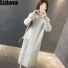 2019 осеннее женское платье-свитер длинная водолазка; свитер женское однотонное трикотажное платье