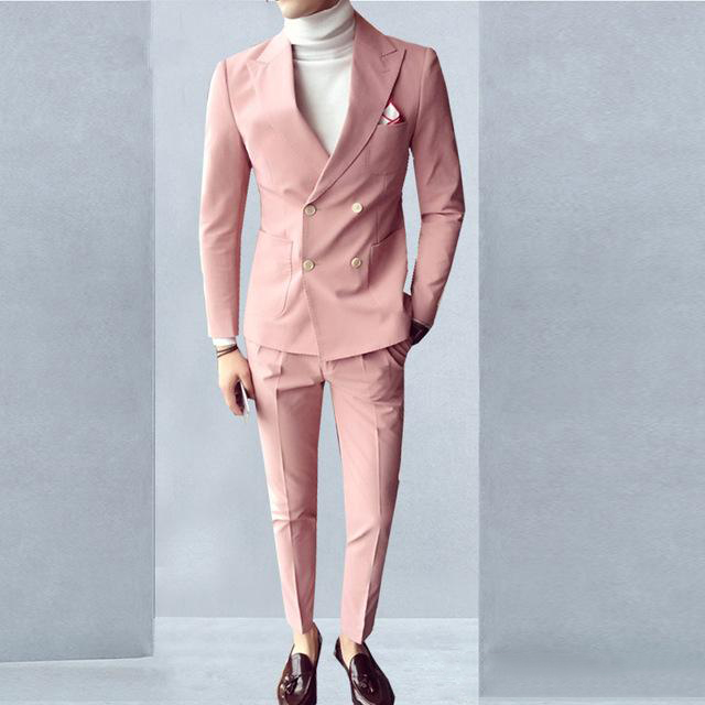 2020 Sunshine Men Suits Double Breasted Peaked Collar Slim Fit Suits For Wedding Dinner Party Tuxedos  2 Pieces (Jacket+Pants)