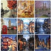 Peinture de paysage par numéros sur toile, pour dessiner, acrylique, bricolage avec cadre, image, coloriage par numéros, décoration de maison, Art