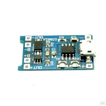 Lithium battery charging board 5v to 4.2v 1A module TP4056 MICRO USB interface with over-discharge protection image