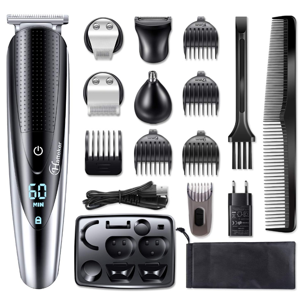HATTEKER Professional Hair Clipper for Men Rechargeable electric razor 5 in 1 Hair Trimmer hair cutting machine beard trimer 598|Hair Trimmers|   - AliExpress