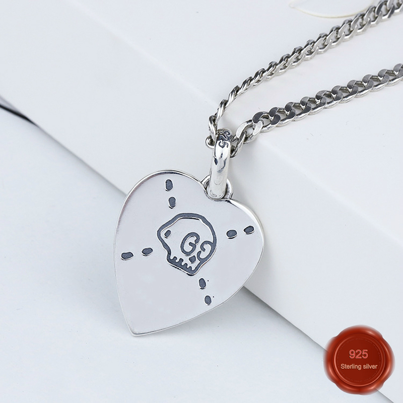 925 sterling silver necklace net red temperament trend chain heart shape birthday gift Valentine's Day to send girlfriend