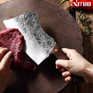 Image 3 - XITUO nóż rzeźnicki ręcznie kute stal wysokowęglowa chiński nóż szefa kuchni wołowina tasak ostre mięso siekanie ciężki nóż