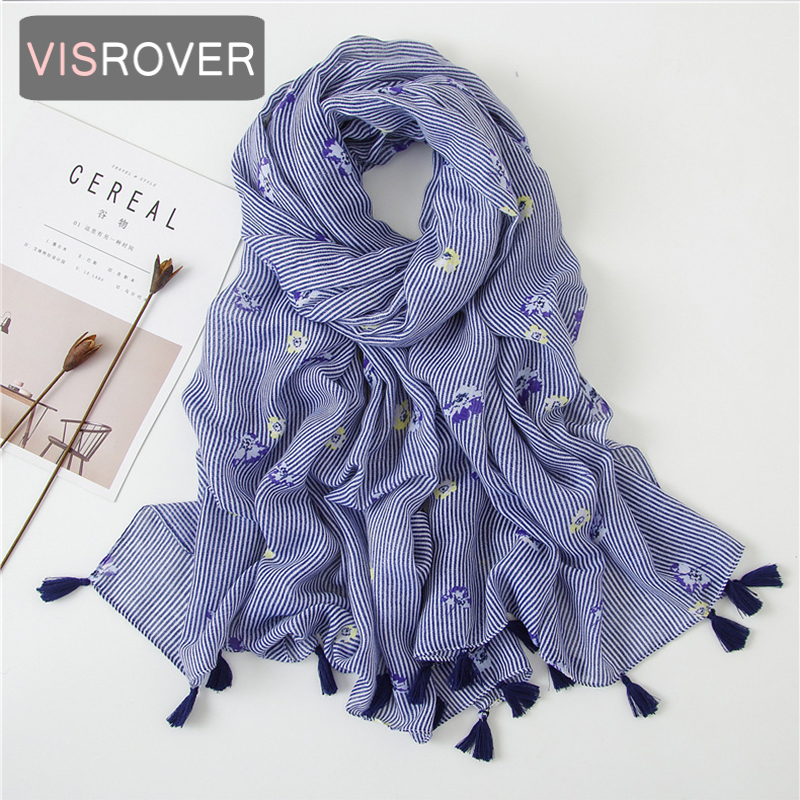 Beach Scarf Luxury Brand Viscose Big Scarf Hijab Natural Strip Flower Print Scarf Hair Womens Scarfs Fashionable Spring Scarve