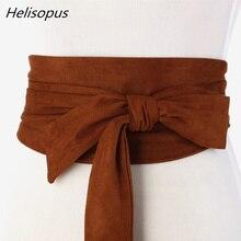 Helisopus New Suede Belts for Women Corset Camel Autumn Winter Waist Belt Female Waistband Solid Bow Tie Wide Belts