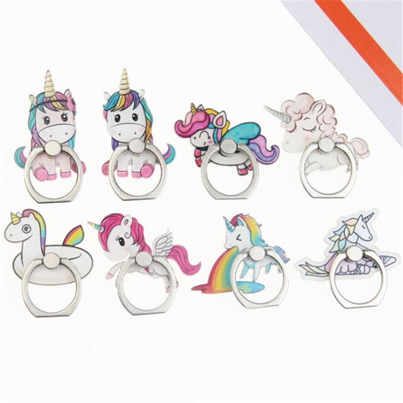 UVR 360 Degree Unicorn Rainbow Horse Finger Ring Smartphone Stand Holder Mobile Phone Holder For IPhone Huawei All Phone