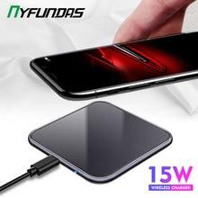 15 w 미러 커버 무선 충전기 삼성 note 10 plus s10 xiaomi mi9 화웨이 p30 pro iphone xr x xs max 8 전화 액세서리