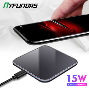 Image 1 - 15W Mirror Cover Wireless Charger For Samsung Note 10 Plus S10 Xiaomi Mi9 Huawei P30 Pro iPhone XR X XS Max 8 Phone Accessories