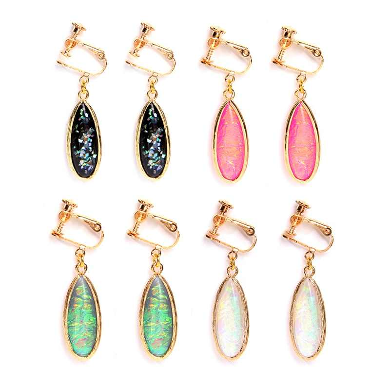 Korea Anting-Anting Klip Rainbow Flash Opal Liontin Anting-Anting Sekrup Clip-On Anting-Anting Tidak Menusuk Tidak Menusuk Telinga Manset wanita Perhiasan