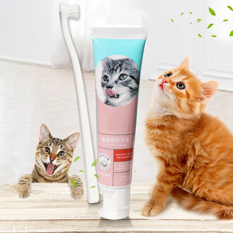Pet Dog Toothpaste And Toothbrush Set Puppy Vanilla/Beef Taste Toothbrush Dog Cat Teeth Cleaning Care Tool image