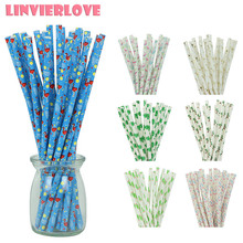 LINVIERLOVE 25Pcs Flamingo Paper Drinking Straws For Kids Cactus Plant Disposable Wedding Birthday Party Decor Suppplies