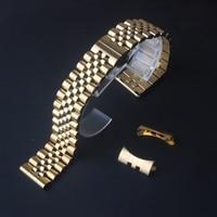 Gold edelstahl armband Bands Armband gerade enden für marke Armbanduhr neue herren Zubehör 17mm 18mm 19mm 20mm 22mm-in Uhrenbänder aus Uhren bei