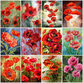 MomoArt Full Square Diamond Painting Poppy 5D DIY Embroidery Flower Rhinestone Art Home Decorations