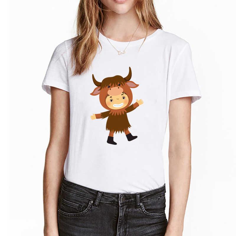 女性綿 Tシャツカジュアル半袖トップスファム Tシャツ女性服新ファッション動物子供プリント Tシャツ