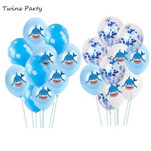 Twins Party Cartoon Shark Baby Birthday Balloons Decorations Kids Shower Toy