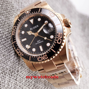 цена Luxury Brand 40mm bliger black dial ceramic bezel rose golden case GMT function automatic mens watch 316L stainless steel онлайн в 2017 году