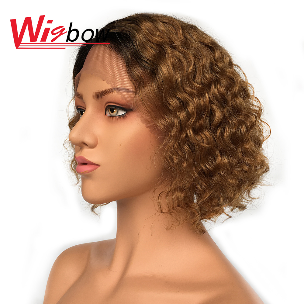 Water Wave Wig For Women Brown Lace Front Wig Ombre Blonde Brazilian Human Hair Wigs With Bangs 150 Density Human Hair Lace Wig