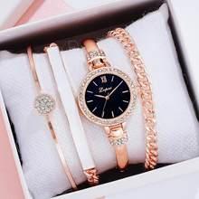 Lvpai – ensemble de montres à Quartz pour femmes, montre-Bracelet de luxe, couleur or Rose, à la mode, cadeau, livraison directe