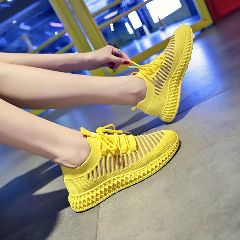 Sneakers Women Breathable Air Mesh Pink Yellow Platform Shoes Ladies Summer Mesh Casual  Flats Shoes Chunky Platform