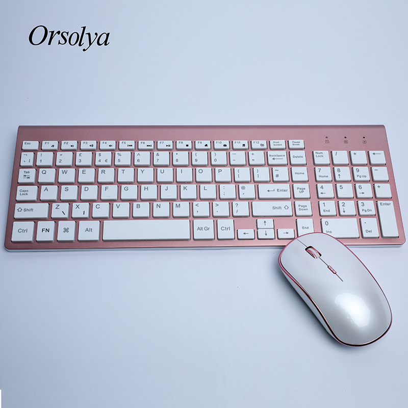 2.4G Wireless Keyboard And Mouse Combo Orsolya Whisper-quiet,English/German DE/Italian IT Layout Keyboard,Rose Gold+Silver