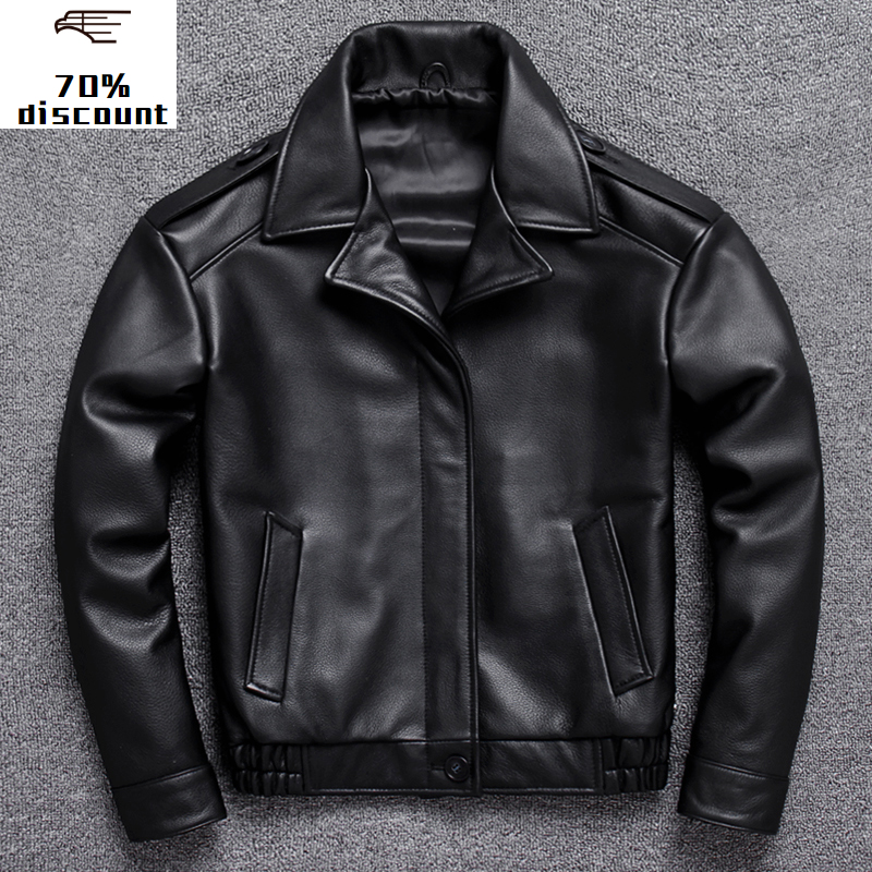 2020 New Genuine Men's jacket Men winter jackets mens leather bomber With Rib Cuff Standing Collar cow leather jacket