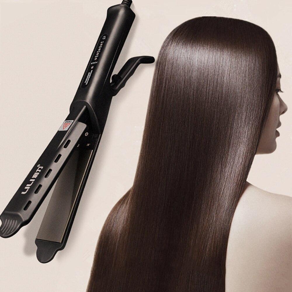 31mm professional 2 in 1 twist hair curling ceramic plate hair straightener hot air styler titanium straightener