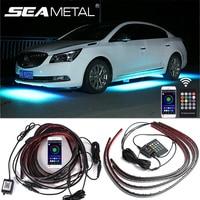 Auto Underglow Neon Accent Streifen Licht Kit 8 Farbe Sound Aktive Funktion APP/Fernbedienung 4 stücke LED Unterboden system Licht Streifen