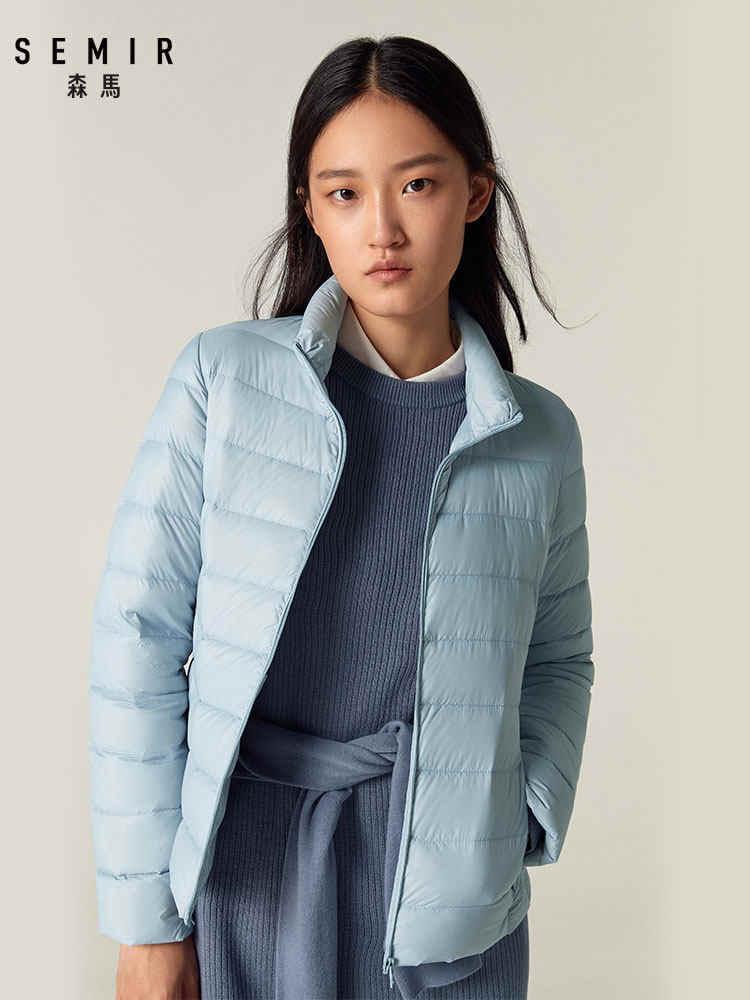をセミール 2019 ダウン冬のジャケットの女性綿ショートジャケット新ダウンフード付き暖かい秋スリムコート女性カジュアルトップス