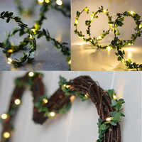 2M Outdoor Wedding Decoration LED Leaf Twine Fairy String Lights With Battery Operate For Rustic Holiday Party Event Supplies