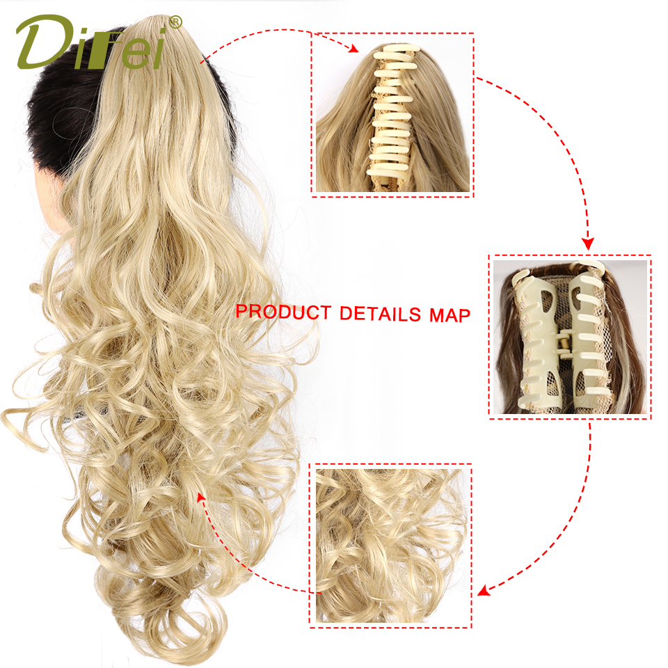 ALI shop ...  ... 32887242836 ... 5 ... DIFEI Synthetic Women Claw on Ponytail Clip in Hair Extensions Wavy Curly Style Pony Tail Hairpiece Black Brown Blonde Hairstyle ...