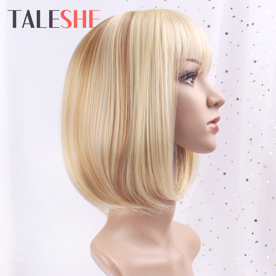 Short Synthetic Wigs Straight Bob Wig With Bangs Blonde Mix Brown Lolita Wigs For White Women Heat Resistant Daily Cosplay Hair