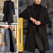 2020 autumn winter new British men's long windbreaker woolen coat solid color lapel single-breasted