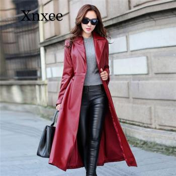 Red Elegant Faux Leather Long Jacket Female Women Autumn Winter Slim Single Breasted Lapel Trench Coat Outwear office