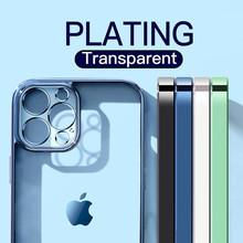 Luksusowe klasyczne kwadratowe ramki poszycia jasne etui na telefony dla iPhone 12 11 Pro Max Mini X XS XR 7 8 Plus SE 2020 miękkiego silikonu okładka tanie tanio YOACHEY CN (pochodzenie) Fitted Case New Square Plating Soft Phone Case Apple iphone ów IPhone 7 IPhone 7 Plus IPHONE 8 PLUS